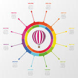 Infographic template. Colorful circle with hot air balloon.  stock illustration