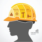 Infographic Template with construction concept jigsaw banner . v Royalty Free Stock Photography