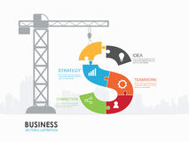 Infographic Template with construction tower crane jigsaw banner. Infographic Template with crane and money jigsaw building Stock Photo