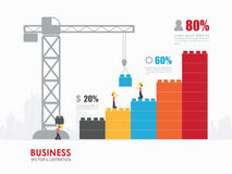 Infographic Template with crane building blocks. Workers construct colorful building by crane into bar chart shape royalty free illustration