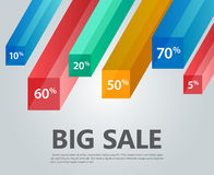 Infographic template, cubes,  rays, discounts. Vector infographic template, cubes,  rays, discounts. Big sale Stock Images