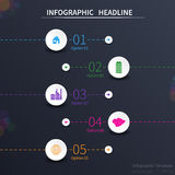 Infographic template design. Circular objects, various icons, dark background Stock Photos