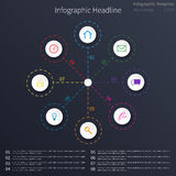 Infographic template design. Circular objects, various icons, dark background Stock Images