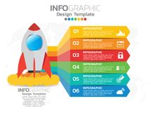 Infographic template design with 6 color options. Infographic template design with 6 color options for your design Stock Photography