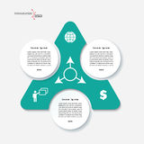 Infographic template design with triangle and 3 segments. Royalty Free Stock Images