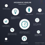 Infographic template design. Various icons, dark background Stock Photo