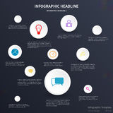Infographic template design. Various icons, dark background Stock Images