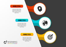 Infographic template. Diagram with three steps. Vector. Illustration Stock Images