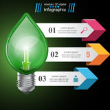 Infographic template. Eco Bulb, Light, leaf, icon. Stock Photo