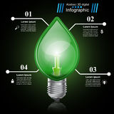 Infographic template. Eco Bulb, Light, leaf, icon. Royalty Free Stock Photography