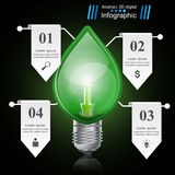 Infographic template. Eco Bulb, Light, leaf, icon. Royalty Free Stock Images