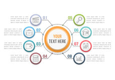Infographic Template with Eight Steps Stock Image