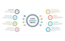 Infographic Template with Eight Steps. Or options, workflow, process diagram Royalty Free Stock Photos