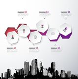 Infographic template with five circles, icons and city. Stock Image