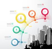 Infographic template with five circles, icons and city. Royalty Free Stock Image