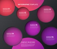 Infographic template with five colorful shapes and icons. Royalty Free Stock Images