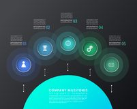 Infographic template with five colorful shapes and icons. Royalty Free Stock Photography