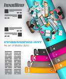 Infographic template with flat UI icons for ttem ranking Royalty Free Stock Images