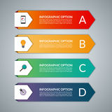 Infographic template in a form of paper arrows. Vector background banner with 4 steps, parts, options, stages. Can be used for data visualization, workflow Stock Photo