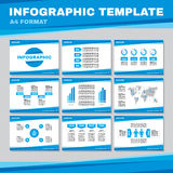 Infographic template in A4 format in blue color. Infographic vector pages in A4 format. Business presentation on A4 pages. Royalty Free Stock Photos