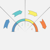Infographic template four positions arrows and semicircle Royalty Free Stock Photo