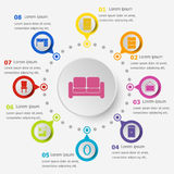 Infographic template with furniture icons Royalty Free Stock Photography