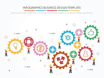 Infographic template with gear, worker and icons. Teamwork with Gear Concept. Infographic Template. Vector Illustration Royalty Free Stock Photography