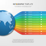 Infographic template with globe with 10 options, parts, steps Stock Images