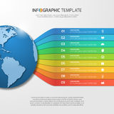 Infographic template with globe with 9 options, parts, steps Royalty Free Stock Photography