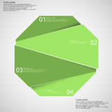 Infographic template with green octagon randomly divided to four parts Stock Photos