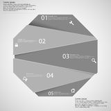 Infographic template with grey octagon randomly divided to five parts Royalty Free Stock Photography