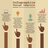 Infographic template with hands and text. Vector Royalty Free Stock Image