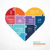 Infographic Template with heart shape jigsaw banner . concept Royalty Free Stock Photos
