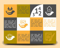Infographic template insurance company. Modern Design style infographic template. Illustration of different kinds of insurance, business service steps options royalty free stock photo
