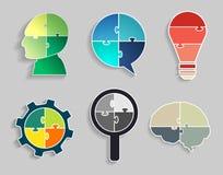 Infographic template jigsaw banner concept modern design. Infographic template with Head, Speech bubble, Light bulbs, Gear wheel, Magnifier, Brain, Jigsaw banner Stock Photo