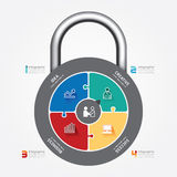 Infographic Template with lock jigsaw banner. concept vector Stock Photos