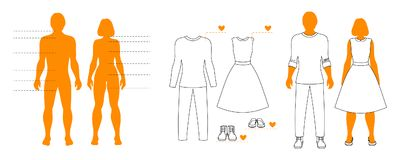 Infographic template of man and woman silhouettes with pointers and clothes contour. Isolated layout for shopping.  Royalty Free Stock Photo