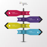 Infographic template of multidirectional pointers on a signpost.  Royalty Free Stock Photo