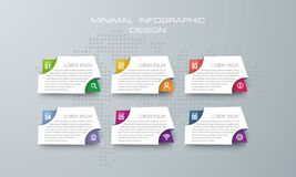 Infographic template with 6 options, banner option for infographic vector illustration