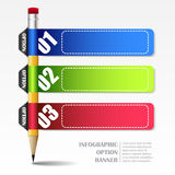 Infographic template with paper frames and pencil. Three steps for your design royalty free illustration