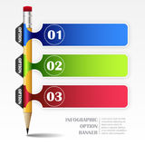 Infographic template with paper frames and pencil. Three steps for your design vector illustration