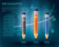 Infographic Template with pencil . Concept vector illustration stock illustration