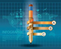 Infographic Template with pencil . Concept vector illustration royalty free illustration