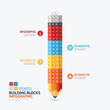 Infographic Template with pencil shape building blocks banner . Royalty Free Stock Images
