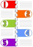 Infographic template for presentation of five options or steps with blank frames and lines for own message in trendy modern flat Stock Images