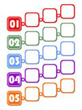 Infographic template for presentation of five options or steps with blank frames for own message in multicolored design. Royalty Free Stock Photos
