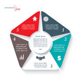 Infographic template with 5 segments. Infographic template for business project or presentation with 5 segments. Vector illustration can be used for web design Royalty Free Stock Photo