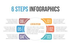 Infographic Template with Six Steps Stock Images