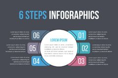 Infographic Template with Six Steps Royalty Free Stock Images
