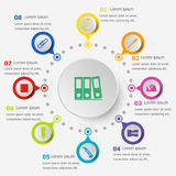 Infographic template with stationery icons Stock Photo